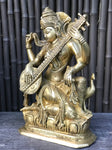 "Brass Saraswati Statue Playing The Veena 9.5"" - Routes Gallery"