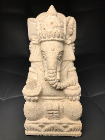 "Stone Seated Ganesh Statue 4.5"" - Routes Gallery"
