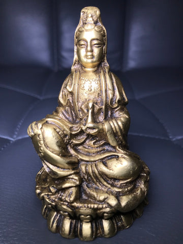 "Brass Quan Yin Holding Vase with Nectar 4"" - Routes Gallery"