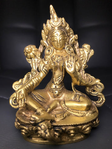 "Brass Green Tara Statue 4.5"" - Routes Gallery"