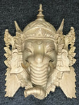 "Wood Ganesh Face Mask Wall Hanging 8.5"" - Routes Gallery"
