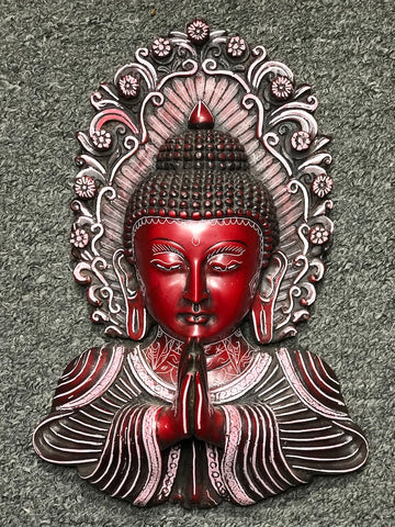 "Buddha Bust Namaste Wall Hanging 9.5"" - Routes Gallery"