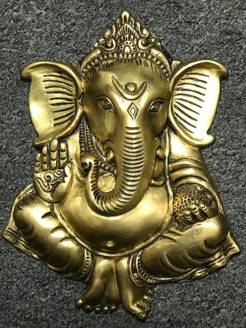 "Brass Ganesh Wall Hanging 8.5"" - Routes Gallery"