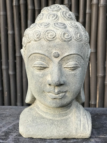 "Stone Buddha Bust 8"" - Routes Gallery"