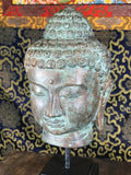 "Brass Buddha Head On Stand 10.5"" - Routes Gallery"