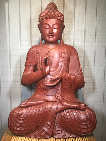 "Wood Dharmachakra Buddha Statue 39"" - Routes Gallery"