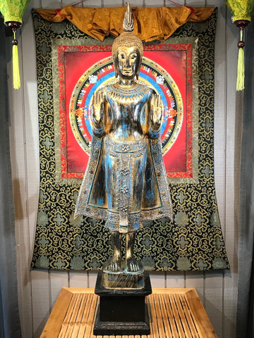 "Wood Standing Sukhothai Buddha Statue 52"" - Routes Gallery"