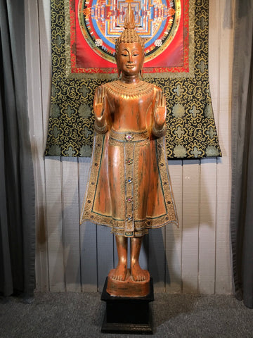 "Wood Standing Sukhothai Buddha Statue 63"" - Routes Gallery"