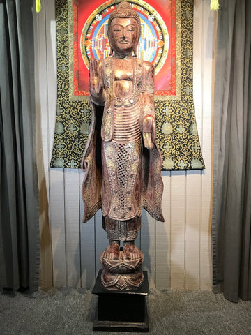 "Wood Standing Japanese Style Abhaya Buddha 68"" - Routes Gallery"