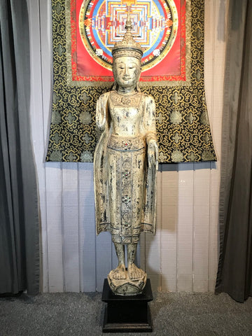 "Wood Standing Royal Buddha Statue 65.5"" - Routes Gallery"