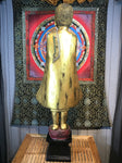 "Wood Standing Monk with Alms Bowl 48"" - Routes Gallery"
