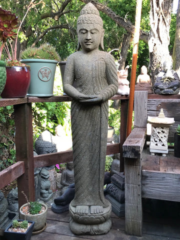 "Stone Standing Meditation Buddha Statue 60"" - Routes Gallery"