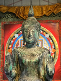 "Wood Standing Laos Style Abhaya Buddha 80"" - Routes Gallery"