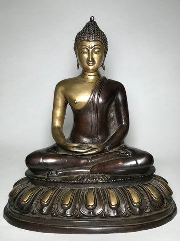 "Brass Meditating Dhyana Buddha Statue 13"" - Routes Gallery"