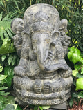 "Stone Seated Ganesh Garden Statue 31"" - Routes Gallery"