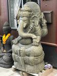 "Large Stone Seated Ganesh Statue 56"" - Routes Gallery"