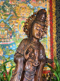 "Standing Hand Carved Suar Wood Quan Yin 40.5"" - Routes Gallery"