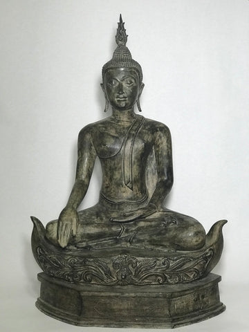 "Brass Earth Witness Utong Buddha Statue 30"" - Routes Gallery"