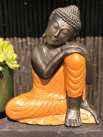 "Stone Relaxing Buddha Statue 18"" - Routes Gallery"