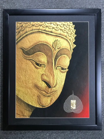 Gold Buddha Face Framed Thai Painting - Routes Gallery