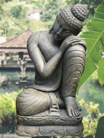"Stone Relaxing Buddha Statue 40"" - Routes Gallery"