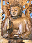 "Wood Buddha Sculpture in Vitarka Mudra 45"" - Routes Gallery"
