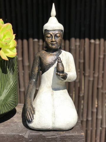 "Stone Seated Buddha w Offering Pot 14"" - Routes Gallery"