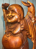 "Wood Laughing Buddha Statue with Hands Up 40"" - Routes Gallery"