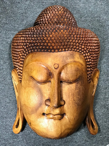 "Wood Buddha Face Mask Wall Hanging 20"" - Routes Gallery"