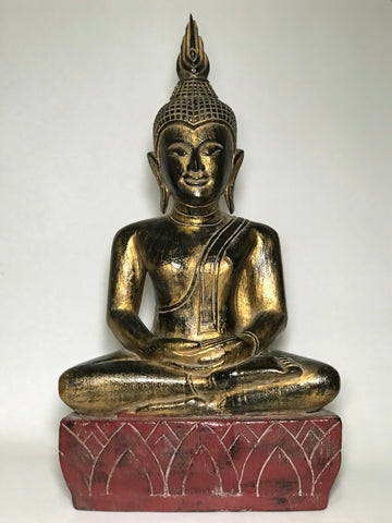 "Wood Meditating Lanna Thai Buddha Statue 26"" - Routes Gallery"