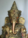 "Wood Handcarved Gilded Ganesh Statue 28"" - Routes Gallery"