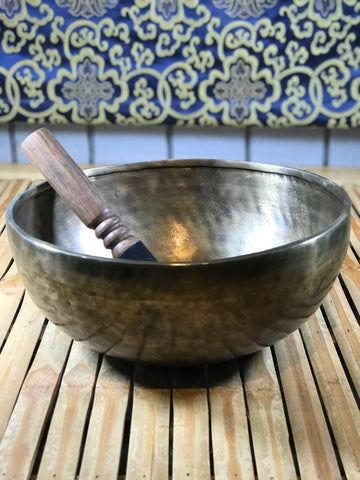 "Medicine Buddha Handmade Singing Bowl 10"" - Routes Gallery"