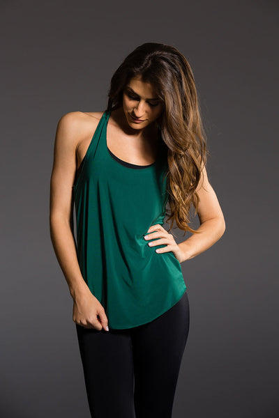 Glossy Flow Tank - Forest Green