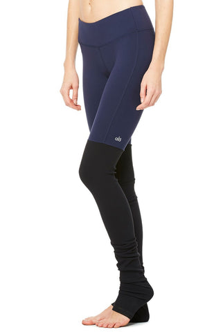 Goddess Ribbed Legging - Rich Navy/Black