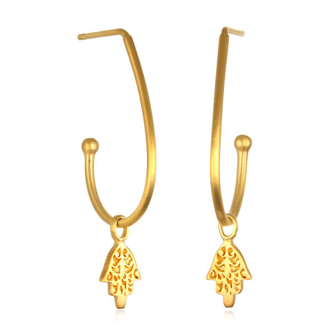 Gold Hamsa Hoop Earrings