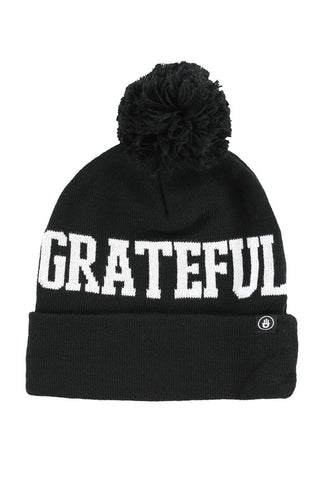 Grateful Pom Beanie Black