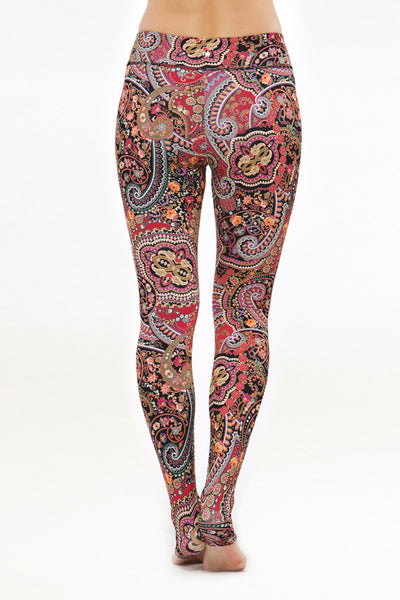 Grace Yoga Tight Red Paisley