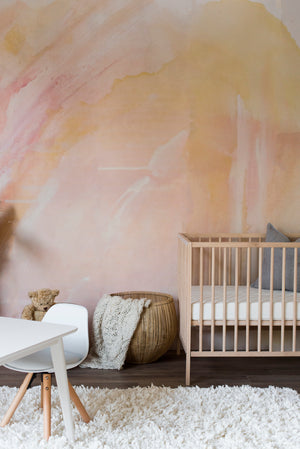 abstract pink orange nursery wallpaper