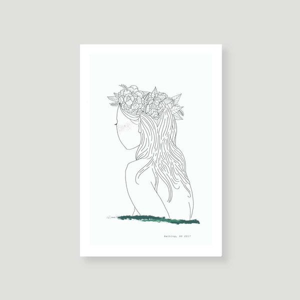 bathing minimal art print