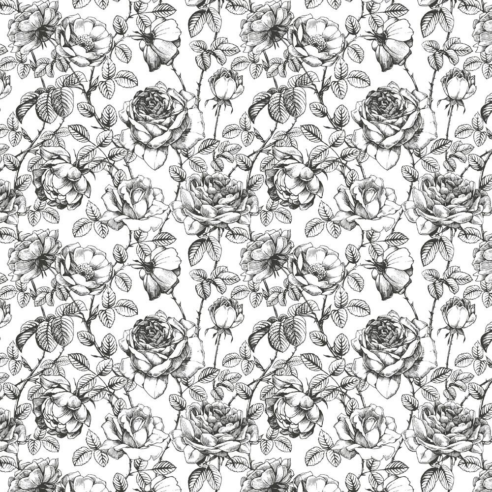 Black And White Floral Wallpaper Romantic Floral Pattern Wall