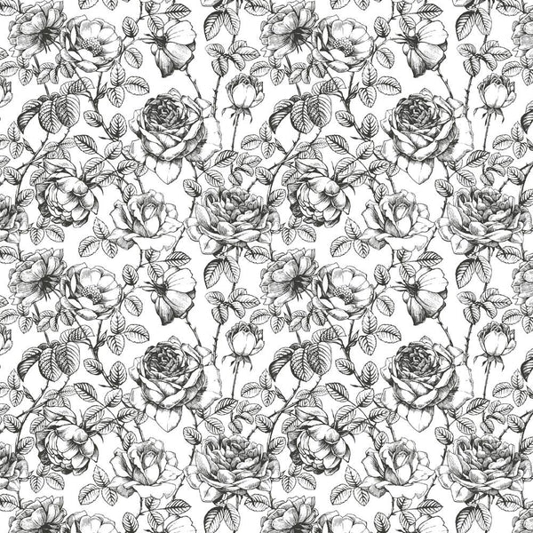 Black And White Floral Wallpaper Romantic Floral Pattern