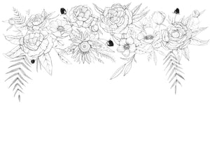 black and white floral sketch wall art
