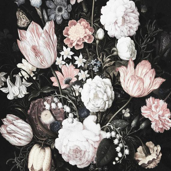 large dark blossoms tapestry