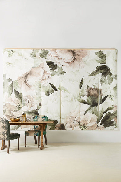 Vintage Inspired Classic Soft Pink Nursery: Soft White & Pink Blush Floral Wallpaper Mural