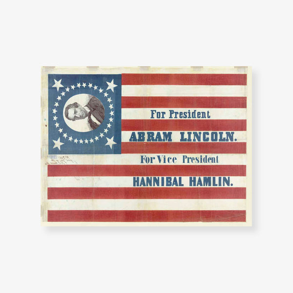 Lincoln Campaign Banner Vintage Print