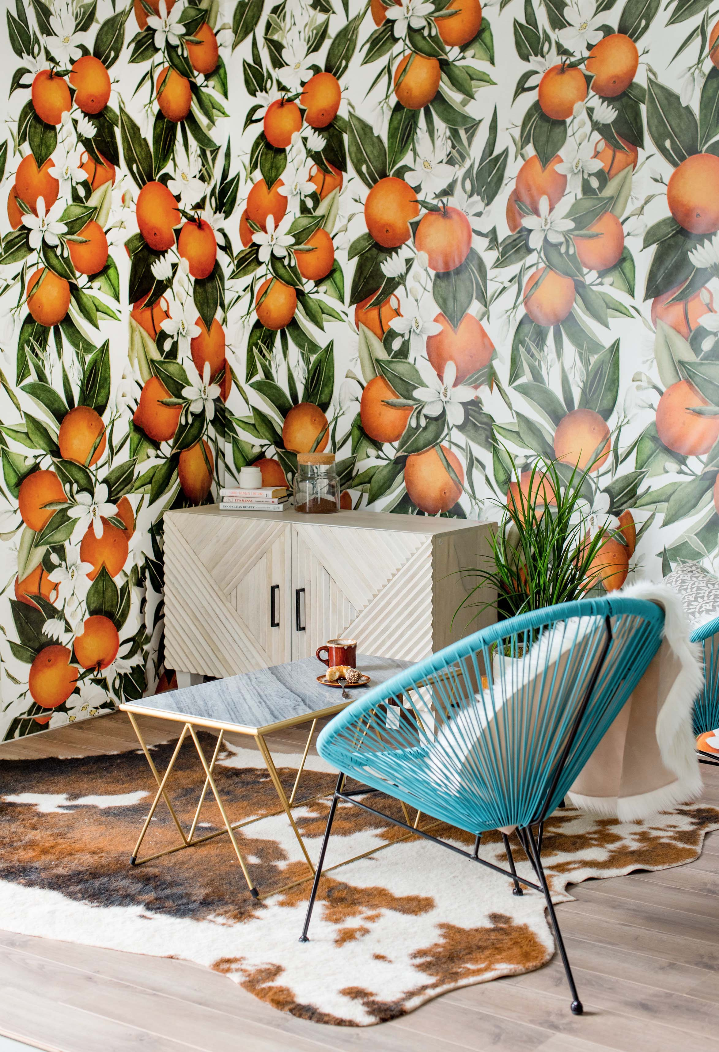 orange fruit mural