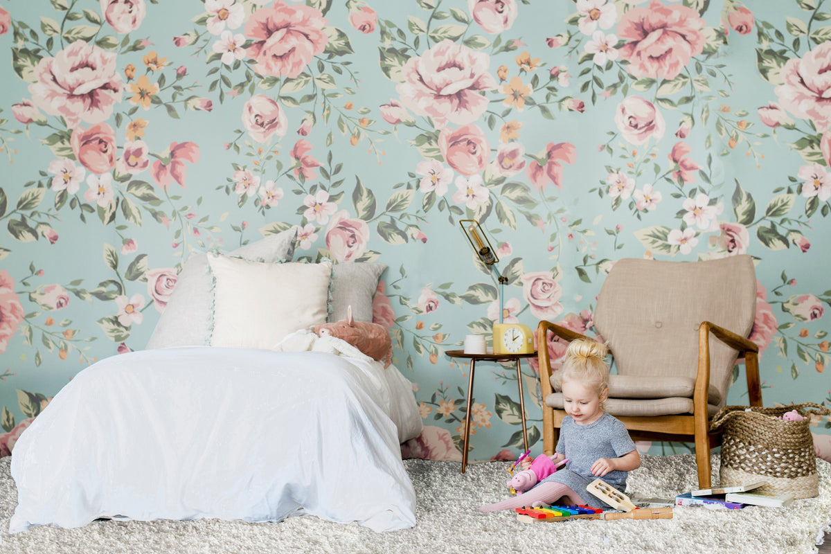 Cutesie Floral Mural, Cute Vintage Floral Bedroom