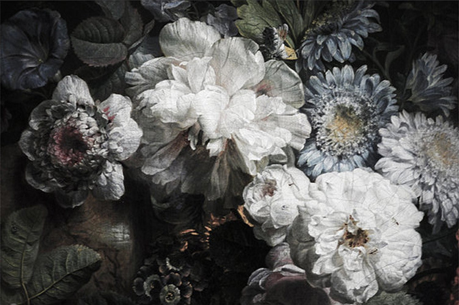 Dark Floral Wallpaper Anewall Mural Wallpapers