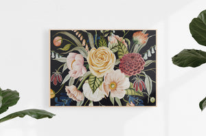 canvas dark floral print