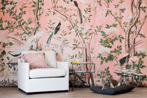 chinoiserie magnolia garden wallpaper